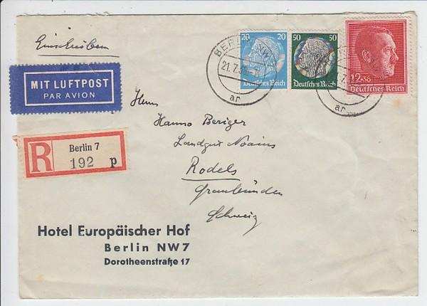 Lupo R Brief Berlin Schweiz Geflogen 21 22 07 38 62 Pf Erh I O