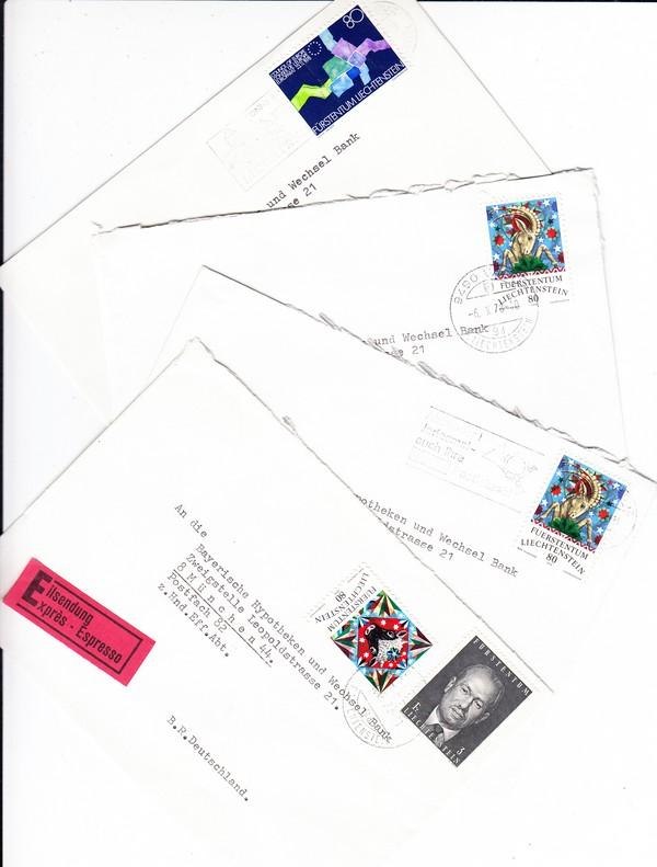 7 Bankbedarfsbriefe Dabei Einschreiber Liechtenstein München 1