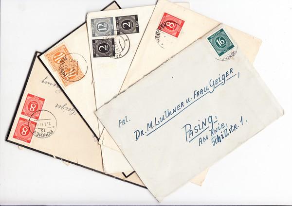 10 Briefe An Gleiche Adresse 8 16 24 Pf Nette Meist Münchner Stempel