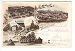 Traunstein, color Litho gelaufen 1898, Eckbug 3 mm